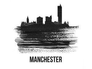 Manchester Skyline Brush Stroke - Black II by NaxArt