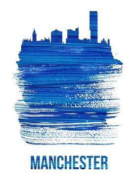 Manchester Skyline Brush Stroke - Blue by NaxArt
