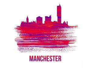 Manchester Skyline Brush Stroke - Red by NaxArt