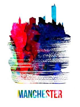 Manchester Skyline Brush Stroke - Watercolor by NaxArt