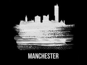 Manchester Skyline Brush Stroke - White by NaxArt