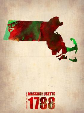 Massachusetts Watercolor Map by NaxArt