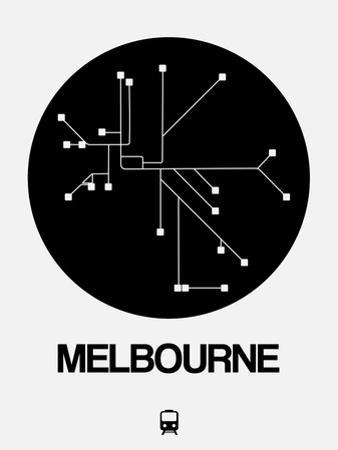 Melbourne Black Subway Map by NaxArt