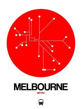Melbourne Red Subway Map by NaxArt