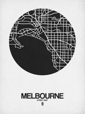 Melbourne Street Map Black on White by NaxArt