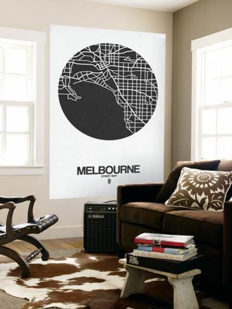Melbourne Street Map Black on White by NaxArt