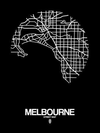 Melbourne Street Map Black by NaxArt