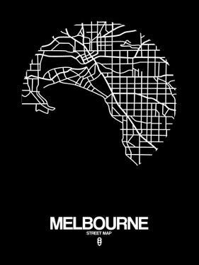 Melbourne Street Map Black by NaxArt