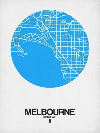 Melbourne Street Map Blue by NaxArt