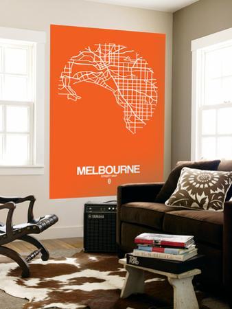 Melbourne Street Map Orange by NaxArt