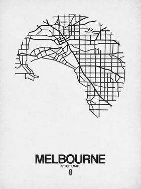 Melbourne Street Map White by NaxArt