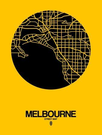 Melbourne Street Map Yellow by NaxArt