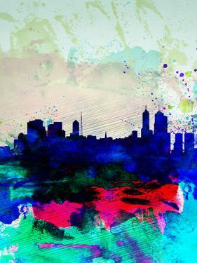 Melbourne Watercolor Skyline 2 by NaxArt