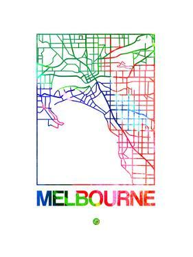 Melbourne Watercolor Street Map by NaxArt