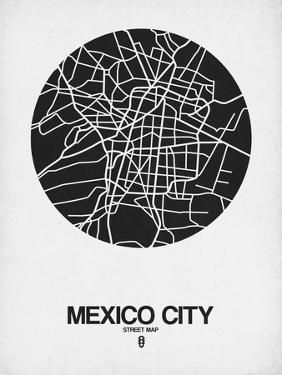 Mexico City Street Map Black on White by NaxArt