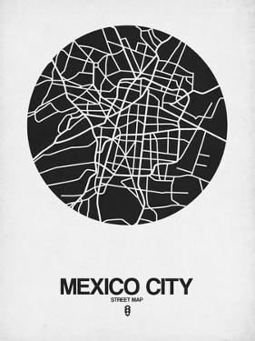 Mexico City Street Map Black on White by NaxArt