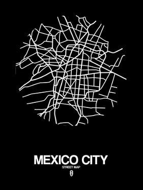 Mexico City Street Map Black by NaxArt