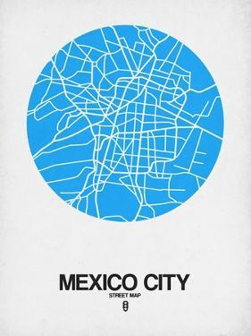 Mexico City Street Map Blue by NaxArt