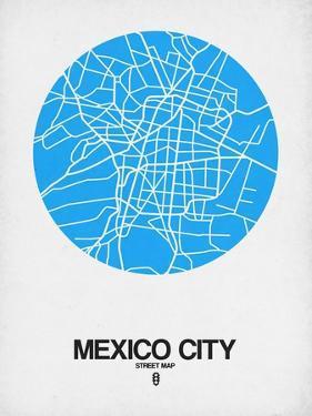 Mexico City Street Map Blue by NaxArt