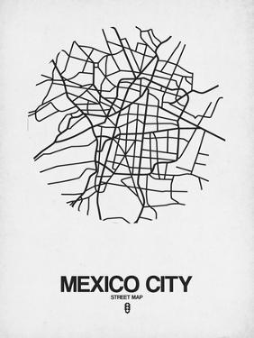 Mexico City Street Map White by NaxArt