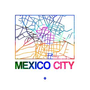Mexico City Watercolor Street Map by NaxArt