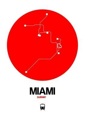 Miami Red Subway Map by NaxArt