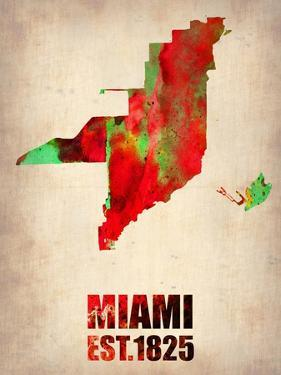 Miami Watercolor Map by NaxArt