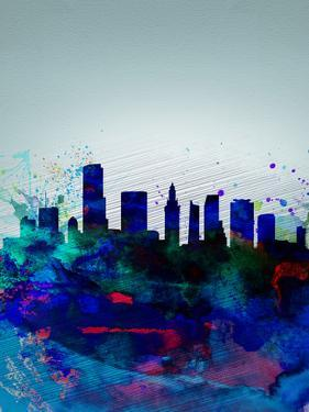 Miami Watercolor Skyline by NaxArt