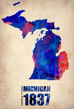 Michigan Watercolor Map by NaxArt
