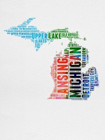 Michigan Watercolor Word Cloud by NaxArt