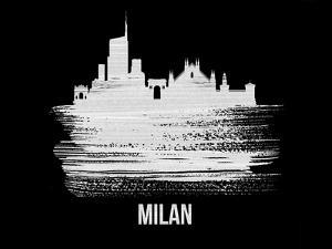 Milan Skyline Brush Stroke - White by NaxArt