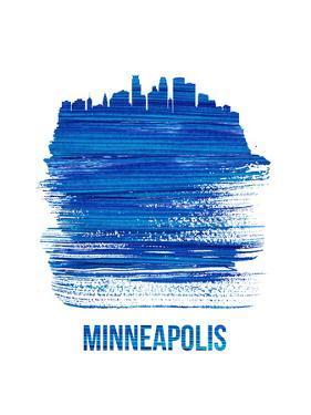 Minneapolis Skyline Brush Stroke - Blue by NaxArt