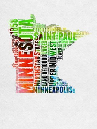 Minnesota Watercolor Word Cloud by NaxArt