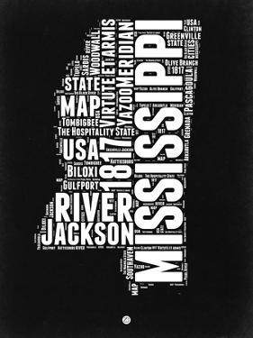 Mississippi Black and White Map by NaxArt