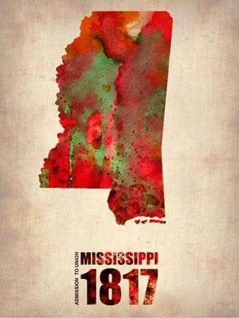 Mississippi Watercolor Map by NaxArt