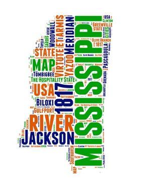 Mississippi Word Cloud Map by NaxArt