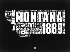 Montana Black and White Map by NaxArt