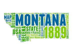 Montana Word Cloud Map by NaxArt