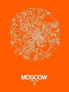 Moscow Street Map Orange by NaxArt