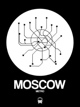 Moscow White Subway Map by NaxArt