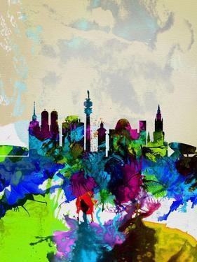 Munich Watercolor Skyline by NaxArt