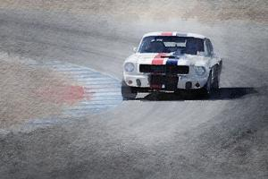 Mustang on Race Track Watercolor by NaxArt