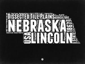 Nebraska Black and White Map by NaxArt