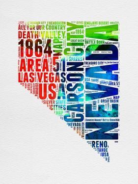 Nevada Watercolor Word Cloud by NaxArt