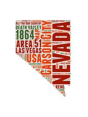 Nevada Word Cloud Map by NaxArt