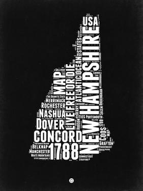 New Hampshire Black and White Map by NaxArt