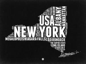 New York Black and White Map by NaxArt