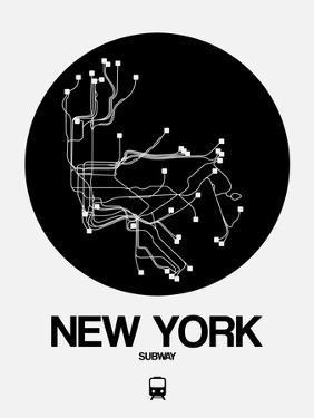New York Black Subway Map by NaxArt