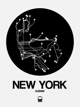 New York Black Subway Map by NaxArt