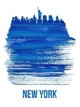 New York Brush Stroke Skyline - Blue by NaxArt
